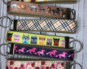 Key Fob, Beige Cotton Canvas and Grosgrain Ribbon - choose pattern