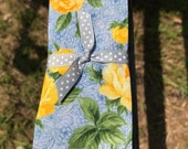 Four Fold Stock Tie, Foxhunting Traditional Stock Tie, Horse Show Stock Tie, Yellow Roses on Blue Background