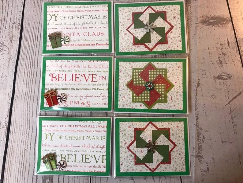 Christmas Card Holiday Season Handmade Card 4.25 x 5.5 Green image 0