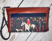 Wristlet purse with front zip pocket, double zipper pouch, foxhunt scene with hounds, metallic rust faux leather, clutch purse