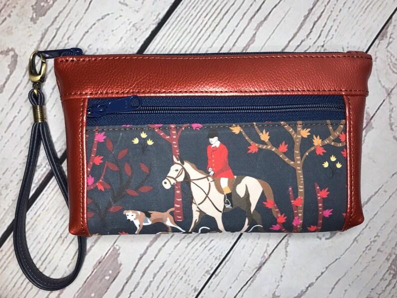 Wristlet purse with front zip pocket double zipper pouch image 0