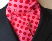 Four Fold Stock Tie, Foxhunting Traditional Stock Tie, Horse Show Stock Tie, 74 inch tiny red foxes and dots on pink