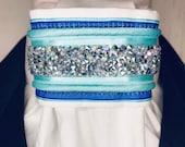 Aurora Borealis Crystals with Aqua and Cobalt Blue, White Cotton Stock Tie, Dressage Stock Tie, Eventing Stock Tie