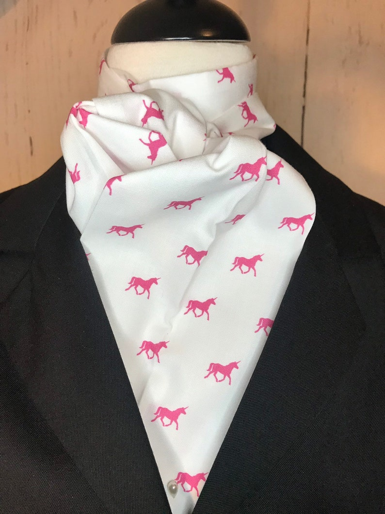 Four Fold Stock Tie with hot pink unicorns on white image 0