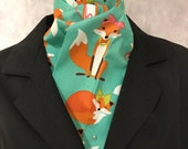 Four Fold Stock Tie, Foxhunting Traditional Stock Tie, Horse Show Stock Tie, Chic Vixen Foxes on Teal