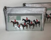 Zipper pouch with front zip pocket, foxhunting equestrian scene with foxhunt hounds, metallic silver faux leather,  Double zipper pouch