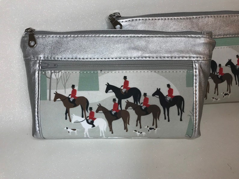 Zipper pouch with front zip pocket foxhunting equestrian image 0