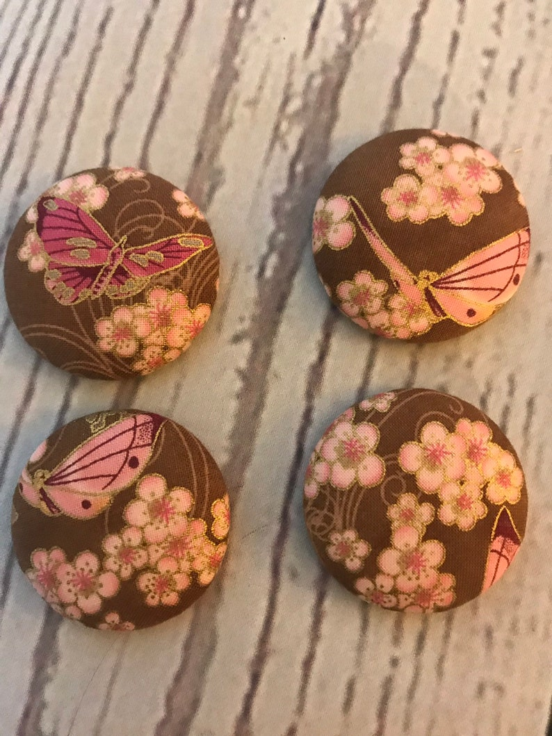 SET OF FOUR Fabric covered button magnets pink butterflies and image 0