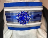 Royal Cobalt Blue Satin Ribbon and Trim, White with Pearl Metallic Cotton Stock Tie Pin Included, Dressage Stock Tie, Eventing Stock Tie