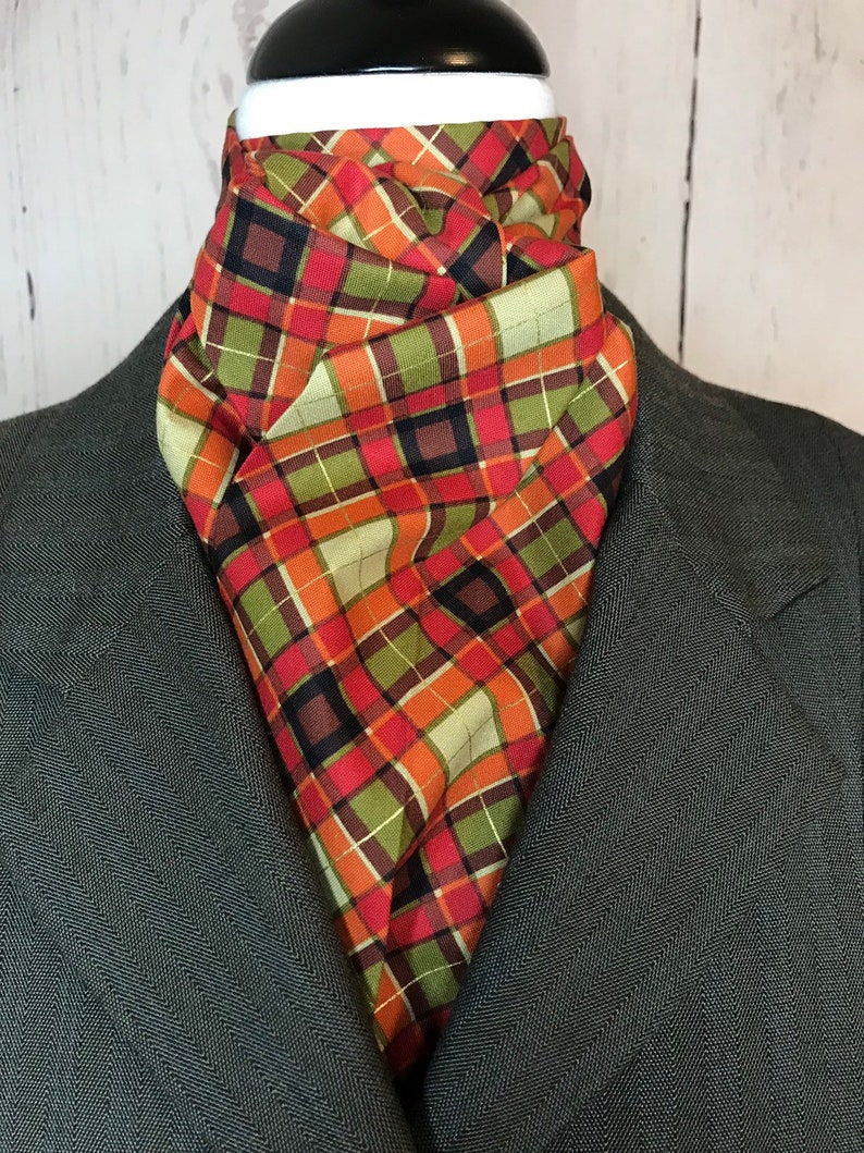 Fall colors plaid with gold detail Four Fold Stock Tie 74 image 0