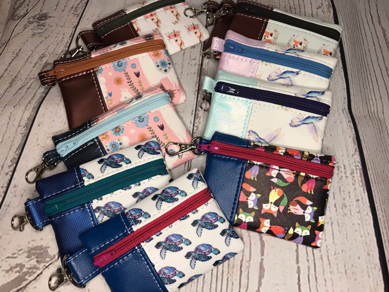 Mini Vinyl Snap on Pouch with Various Animals Horses Foxes image 0