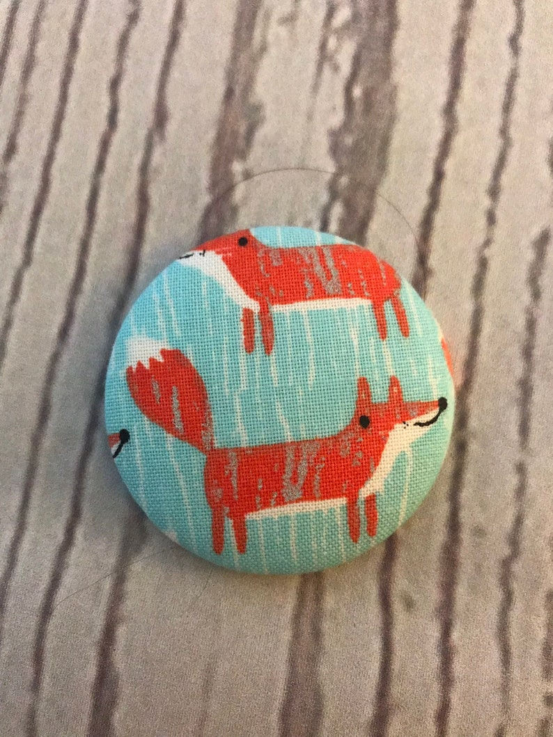 ONE Fabric covered button magnets sketched red fox on aqua  image 0