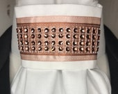 Rose Gold Satin Ribbon with rose gold trim on White Tie, Dressage Stock Tie, Eventing Stock Tie, Horse Show