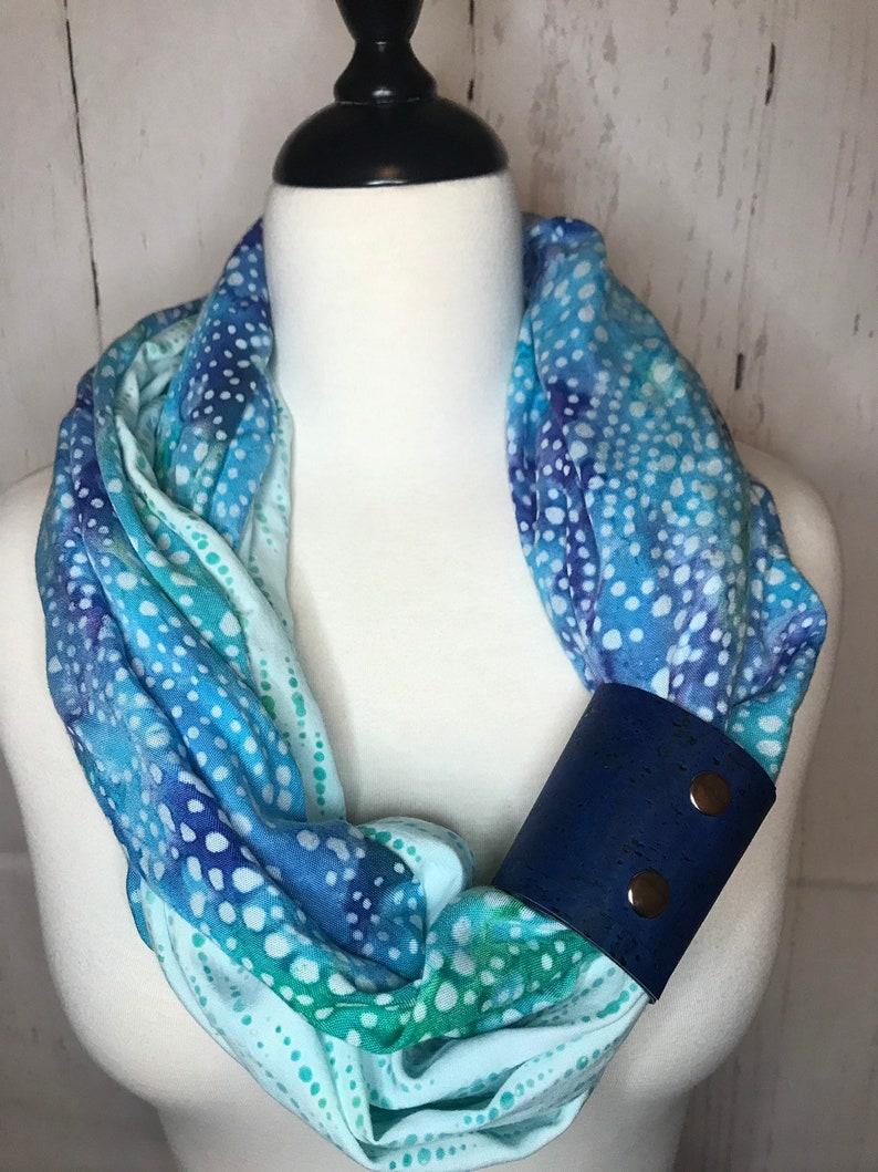 Infinity Scarf Batik Prints with Cork Fabric Cuff  Aqua image 0