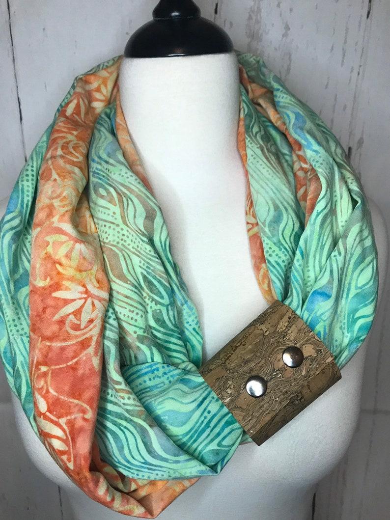 Infinity Scarf Batik Prints with Cork Fabric Cuff  Green image 0