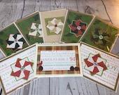 Christmas Card Holiday Season Handmade Card 5 x 7 Neutral Card with green, red, white Christmas theme. Handmade pinwheel card