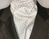Four Fold Stock Tie, Foxhunting Traditional Stock Tie, Horse Show Stock, Silver Geometric Stars with metallic detail, High Quality Cotton