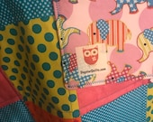 Modern Baby Quilt, Elephants and Bright Colors Quilt with Blue Thread, Gender Neutral Quilt, Crib Quilt, Homemade Quilt, Nursery Handmade