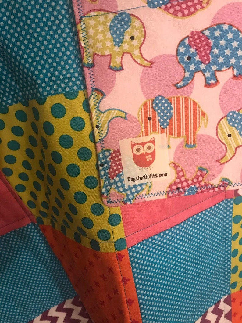 Modern Baby Quilt Elephants and Bright Colors Quilt with Blue image 0