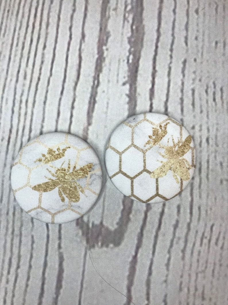 SET OF TWO Fabric covered button magnets crowned bees on white image 0