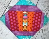 Insulated hot pad pot holder, modern improvisational art pieced hot pad with insulation - do NOT microwave.