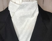 White on White Tonal Flowers and Curly Stems Four Fold Stock Tie, Formal White Stock Tie, Traditional Foxhunting Stock Tie
