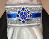 Royal Blue Satin Ribbon w Trim on White and Grey Metallic Cotton Stock Tie Pin Included, Dressage Stock Tie, Eventing Stock Tie