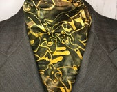 Four Fold Stock Tie, Foxhunting Traditional Stock Tie, 70 inch Green and Brown Foxes in Batik Cotton Fabric Horse Show Stock Tie