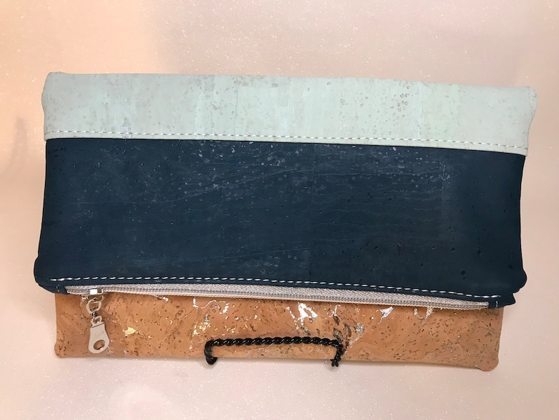 Cork foldover clutch dark teal mint and silver detailed root image 0