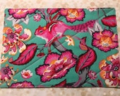 Mug Rug with Pink and Mint Teal, Chipmunk and Flowers, Large Coaster for mugs and snacks, low carbon footprint, green living