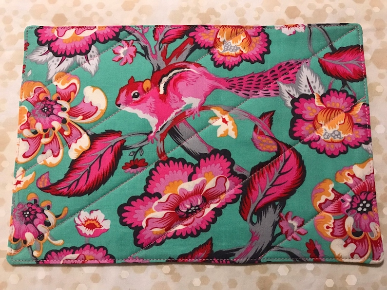 Mug Rug with Pink and Mint Teal Chipmunk and Flowers Large image 0