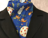 Four Fold Stock Tie, Foxhunting Traditional Stock Tie, Horse Show Stock Tie Unique and Fun!! Cute Red Foxes Apple Tree Forest on Royal Blue