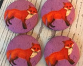 SET OF FOUR Fabric covered button magnets - red foxes on violet purple magnets 1 7/8 inch diameter
