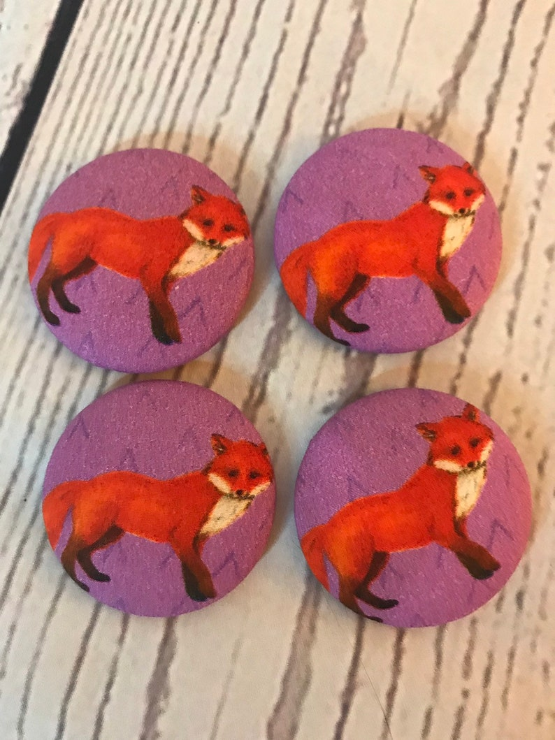 SET OF FOUR Fabric covered button magnets  red foxes on image 0