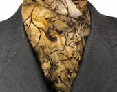 Four Fold Stock Tie, Foxhunting Traditional Stock Tie, Tan and Brown Foxes in Batik Cotton Fabric Horse Show Stock Tie