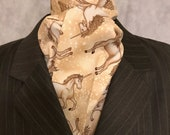 Four Fold Stock Tie, Foxhunting Traditional Stock Tie, Last ones available, Unicorns in Beige and Gold, Designer Fabric! Out of Print!