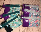 Mini Vinyl Snap on Pouch with Mermaid Scales and Mosaic Tiles