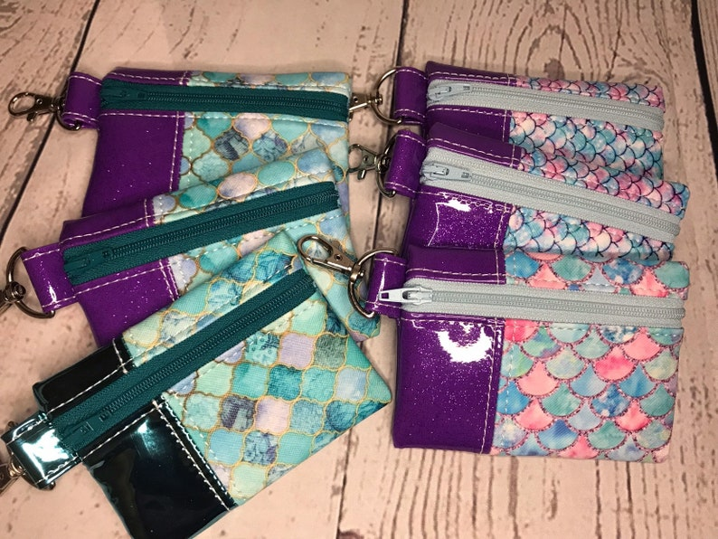 Mini Vinyl Snap on Pouch with Mermaid Scales and Mosaic Tiles image 0