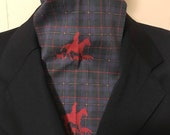 Four Fold Stock Tie, Foxhunting Traditional Stock Tie, foxhunter and hounds in red on plaid