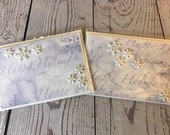 Holiday Season Handmade Card 5 x 7 White Card with light lavender and light blue snow theme. Handmade Holiday Card.