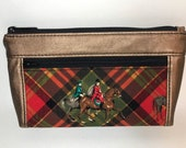 Metallic Copper faux leather with foxhunt horses and riders. Zipper pouch with front zip pocket, double zipper clutch
