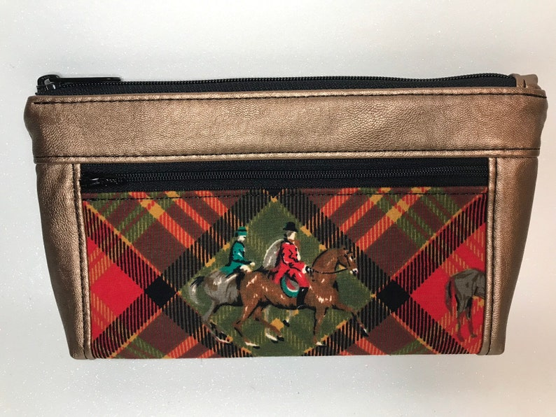 Metallic Copper faux leather with foxhunt horses and riders. image 0