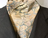 Four Fold Stock Tie, Foxhunting Traditional Stock Tie, Horse Show Stock Tie, Neutral Cream and grey elegant batik