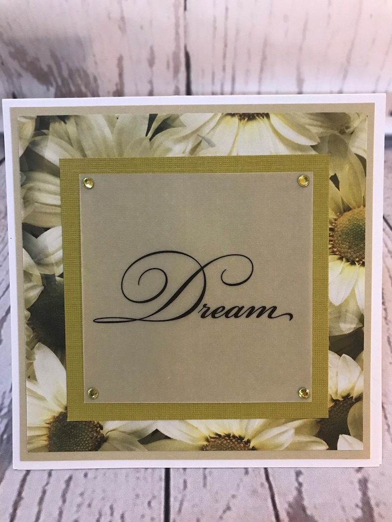 Unique Handmade Card 5.5 x 5.5 White cardstock and envelope  image 0