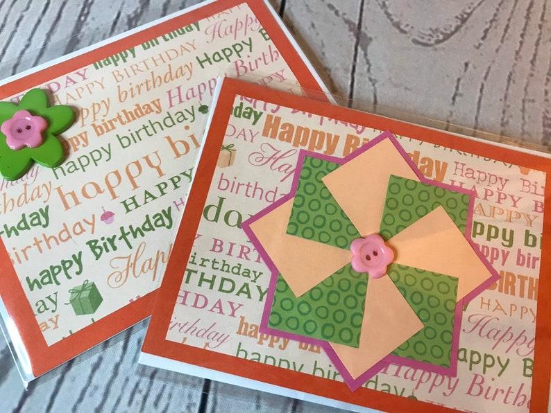 Happy Birthday Handmade Card 4.25 x 5.5 Orange Card with image 0