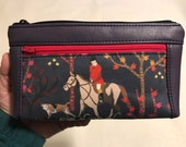 Zipper pouch with front zip pocket, foxhunt scene with hounds, PURPLE soft faux leather,  Double zipper clutch