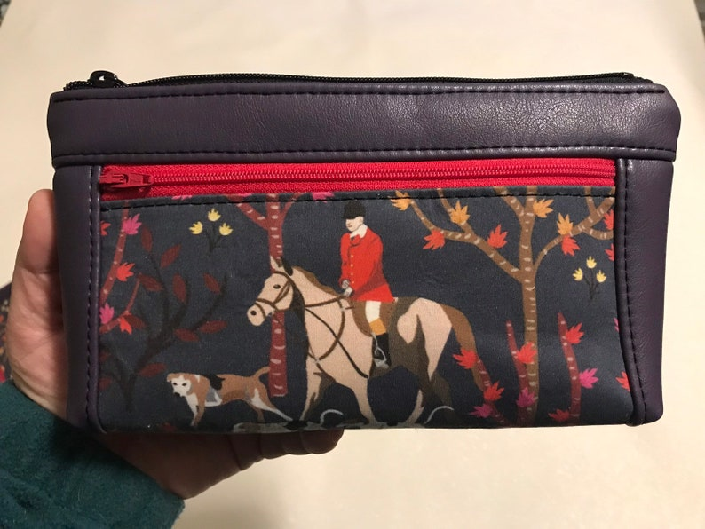 Zipper pouch with front zip pocket foxhunt scene with hounds image 0