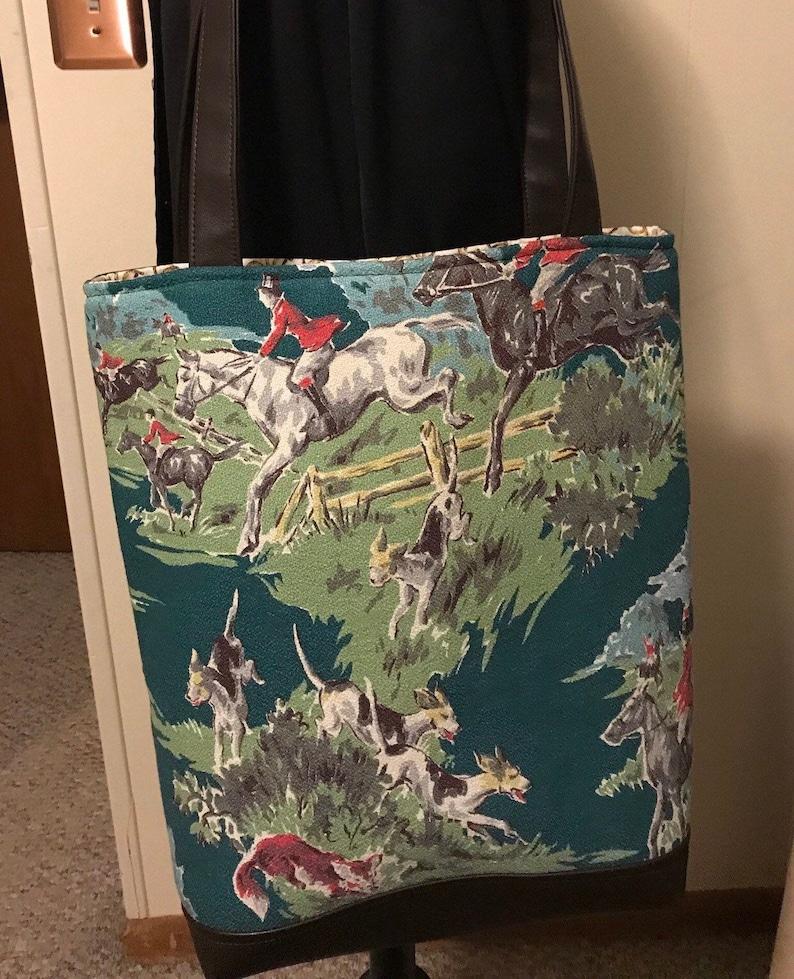 Large Tote bag with Vintage Foxhunt Barkcloth BLACK Vegan image 0