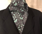 Four Fold Stock Tie, Foxhunting Stock Tie, Traditional Four Fold Stock Tie, Horse Show Stock Tie, Aqua Horses Rabbits Thistles on Grey