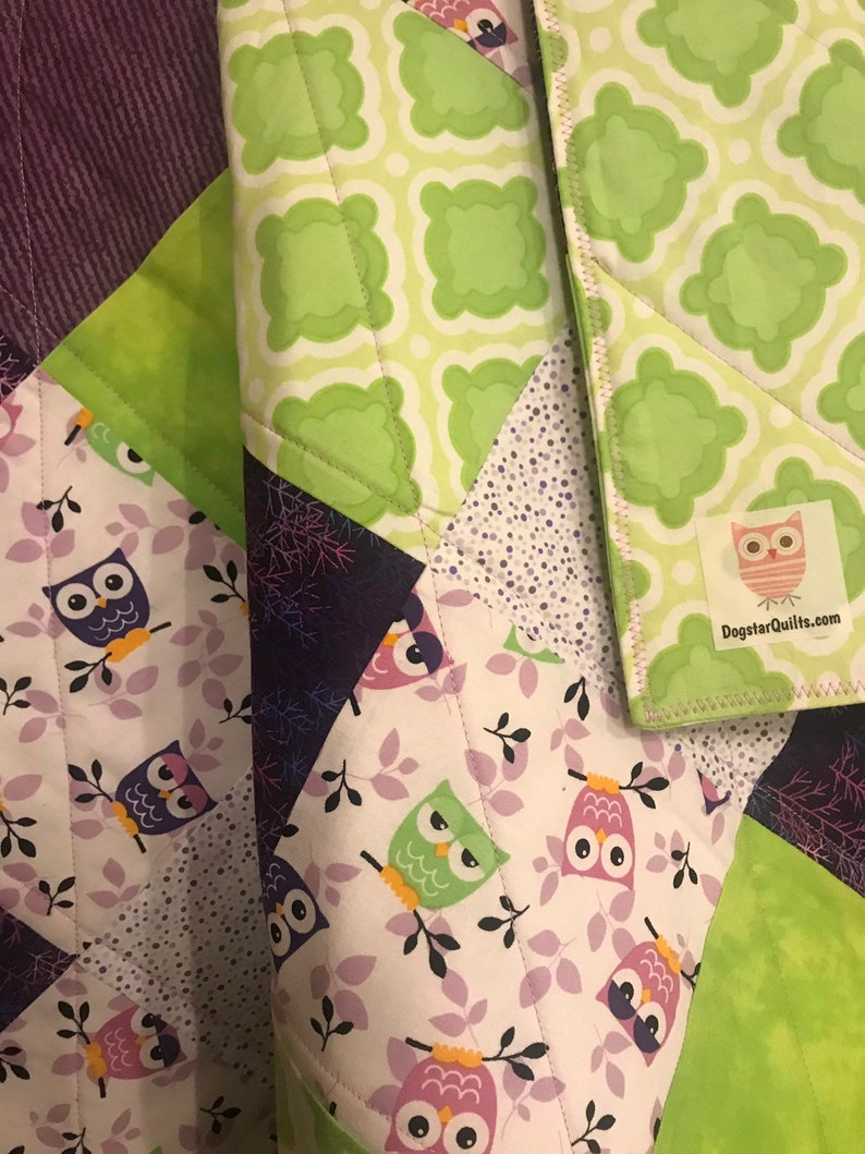 Modern Baby Quilt Purple and Green Owls Quilt with Lavendar image 0